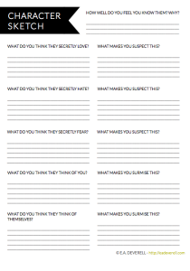 Character Sketch Writing Worksheet