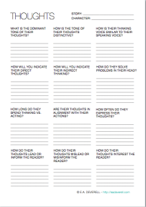 Character Thoughts Worksheet