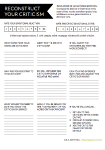 How to deal with negative feedback - writing worksheet