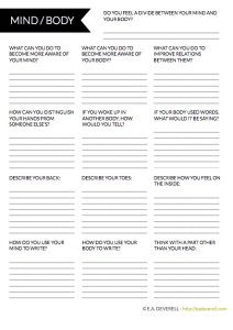 Mind & Body Worksheet