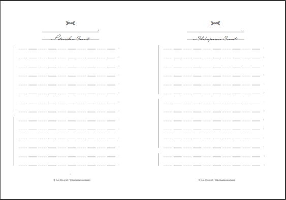 Printables Sonnet Worksheet sonnet booklet creative writing blog book