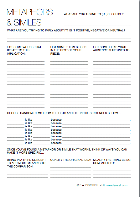 Printables Metaphor And Simile Worksheet metaphor and simile worksheet creative writing worksheet