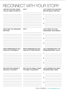 Writing worksheet wednesday reconnect with your story
